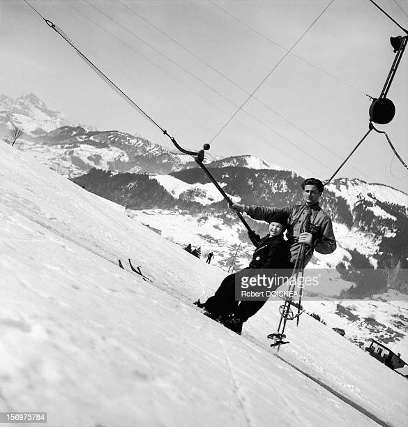The ski tow, 1936 in Megeve, France.