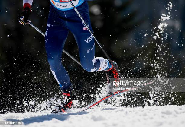 The skies of Scott Patterson of the United States seen in the Cross Country Skiathlon Men 30k race during the FIS Nordic World Ski Championships on...