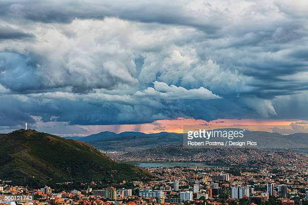 The skies turn stormy over the skies of Cochabamba, with El Cristo seen on the mountain in the middle of the city