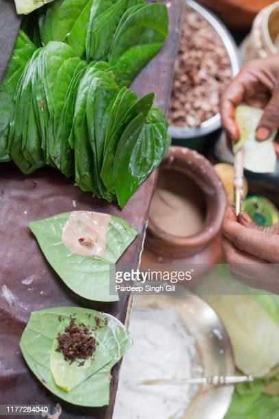 the skilled paan maker (paanwala)making paan at a betel leaf paan market in varanasi, india. - uttar pradesh stock pictures, royalty-free photos & images