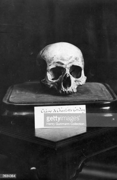 The skull of French Revolutionist Charlotte Corday murderess of revolutionary leader Marat exhibited in the Geographical Society Paris