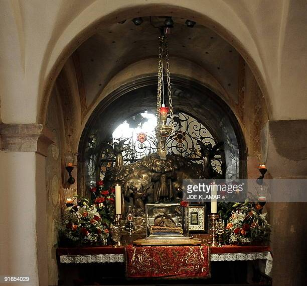 The skull of Saint Wenceslas is displayed in the crypt at Saint Wenceslas Basilica which Pope Benedict XVI visited in Stara Bolesav near Prague on...