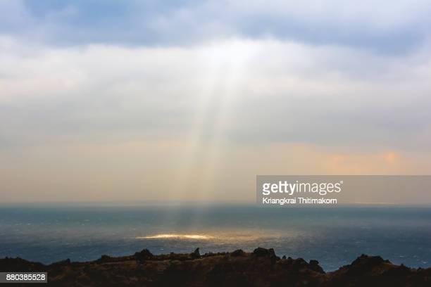 the sky above hallasan, shield volcano in jeju island, south korea - hallasan stock photos and pictures