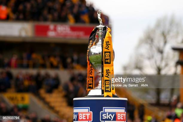 The Sky Bet Championship trophy is seen during the Sky Bet Championship match between Wolverhampton Wanderers and Sheffield Wednesday at Molineux on...