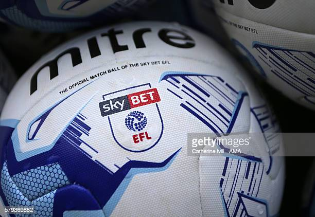 The Sky Bet EFL logo on a mitre football league ball before the PreSeason Friendly match between Peterborough United and Leeds United at London Road...