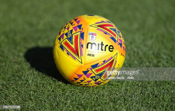 The Sky Bet EFL Mitre Delta yellow winter ball during the Sky Bet League One match between AFC Wimbledon and Shrewsbury Town at The Cherry Red...