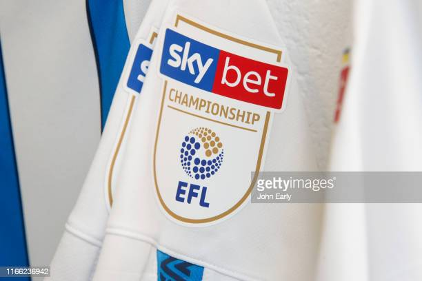 The Sky Bet logo is shown on a shirt of Huddersfield Town in the dressing room before the Sky Bet Championship match between Huddersfield Town and...