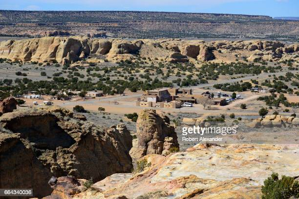 The Sky City Cultural Center and Haak'u Museum can be seen from the mesa at Sky City one of three Native American villages which make up Acoma Pueblo...