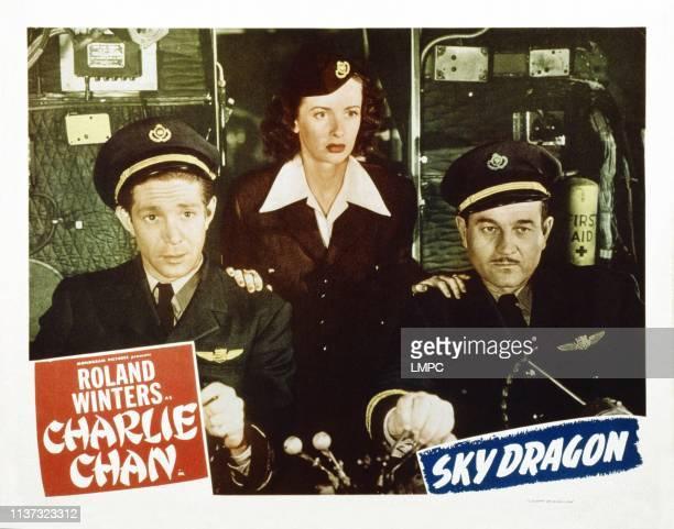 The Sky Dragon, US lobbycard, from left: Joel Marston, Noel Neill, Milburn Stone, 1949.