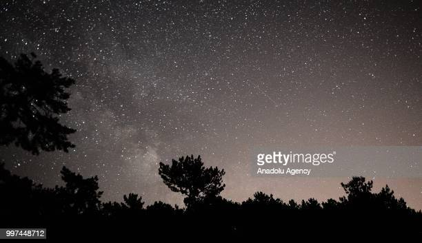 The sky is covered with full of stars during night time at Murat Mountain in Usak district of Turkey on July 13, 2018.