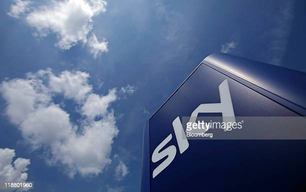 The 'Sky' logo sits on a sign outside British Sky Broadcasting Group Plc's headquarters in Isleworth UK on Monday July 11 2011 British Sky...