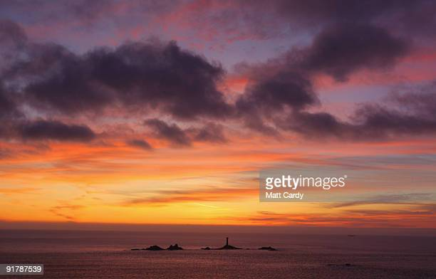 The sky over Lands End darkens after the sun has set October 10 2009 in Cornwall England England particularly in the south is currently enjoying a...