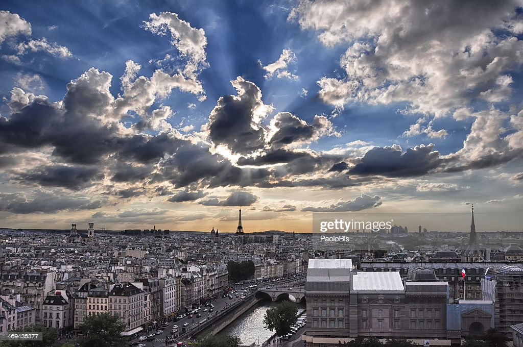 The sky over Paris : Stock Photo