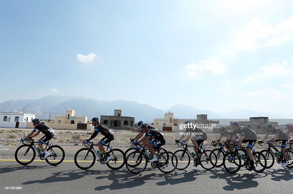 The SKY Procycling team ride together in peloton during stage one of the 2013 Tour of Oman from Al Musannah to Sultan Qaboos University on February 11, 2013 in Muscat, Oman.