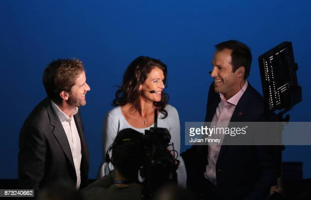The sky sports crew Marcus Buckland, Annabel Croft and Greg Rusedski talk between a break in play during day one of the Nitto ATP World Tour Finals...