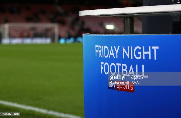 The Sky Sports Friday Night football logo during the Premier League match between AFC Bournemouth and Brighton and Hove Albion at Vitality Stadium on...