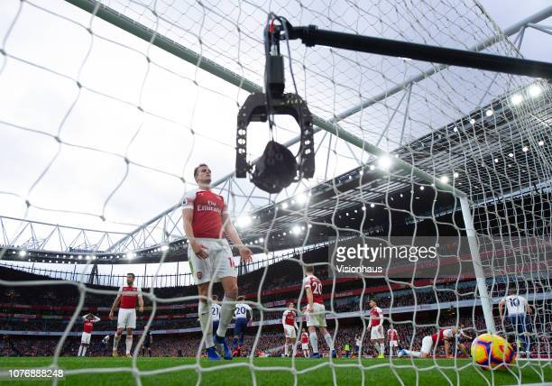 The Sky Sports remote controlled goal camera films Rob Holding of Arsenal as he collects the ball from the net after Tottenham equalise during the...