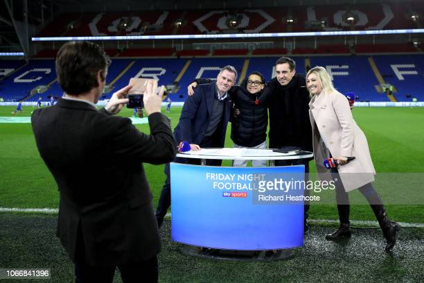 The Sky Sports team including Jamie Carragher Gary Neville and Kelly Cates ahead of the Premier League match between Cardiff City and Wolverhampton...
