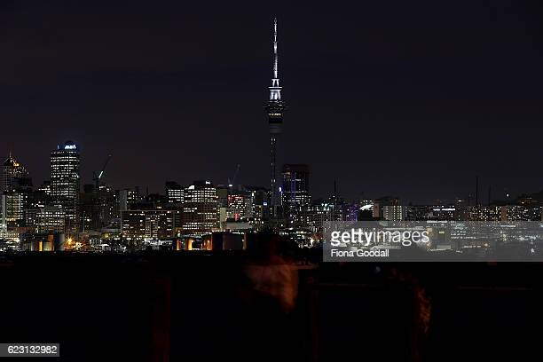 The Sky Tower is illuminated Black and White as as a sign of solidarity on November 14 2016 in Auckland New Zealand A 75 magnitude earthquake struck...