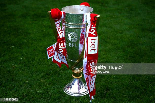 The Skybet championship league two trophy during the Sky Bet League Two match between Lincoln City and Colchester United at Sincil Bank Stadium on...