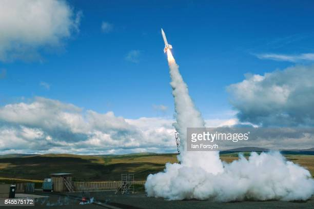 The Skybolt 2 Research Rocket is successfully launched from Otterburn in Northumberland on September 11, 2017 in Hexham, England. Standing at over 8...
