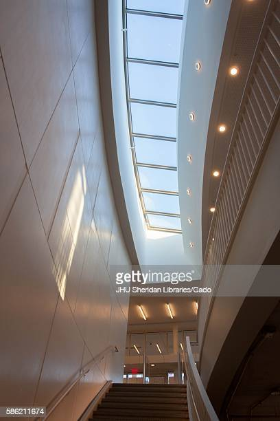The skylight above the stairs leading to the first level Q Level of the Brody Learning Commons at Johns Hopkins University 2014 Courtesy Eric Chen