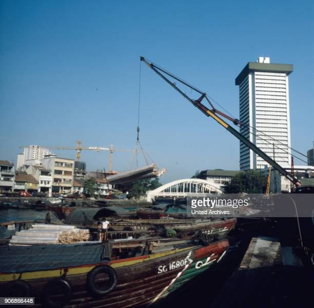 The skyline at the harbour of Singapore River Singapore 1980s