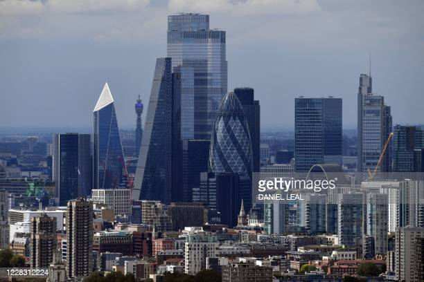The skyline, including the office buildings of the City of London, is seen in London, England on September 02, 2020.