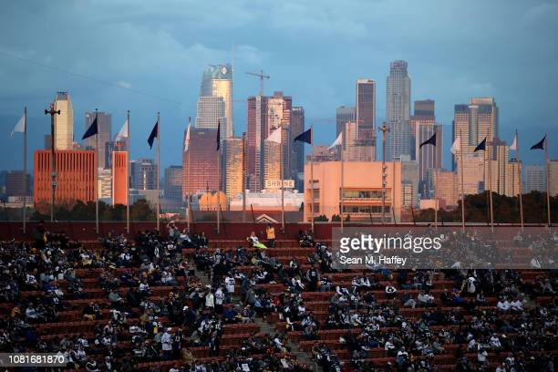 The skyline is seen as fans look on before the NFC Divisional Playoff game between the Los Angeles Rams and the Dallas Cowboys at Los Angeles...
