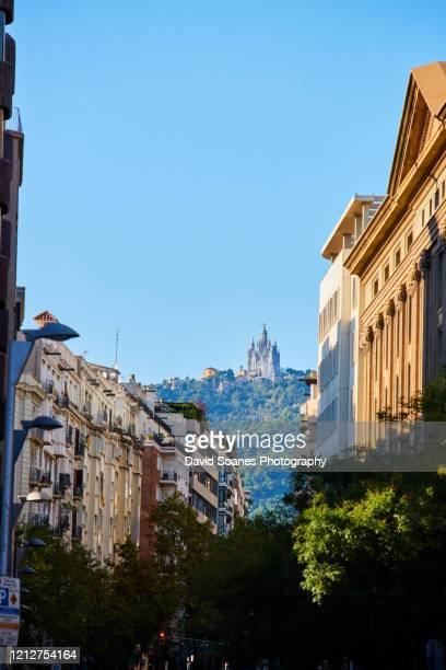 the skyline of barcelona,spain - tibidabo stock pictures, royalty-free photos & images