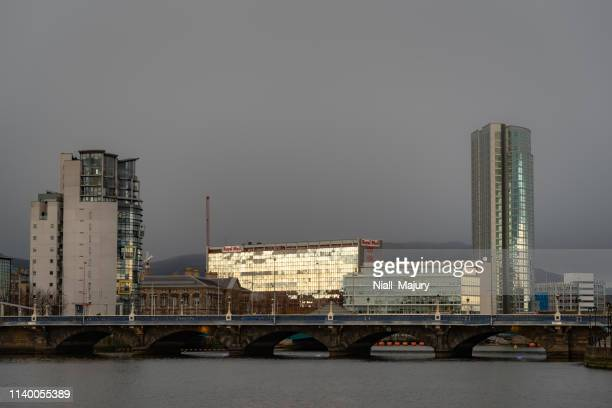 the skyline of belfast's city centre in the vicinity of the queen's bridge - customs house belfast stock pictures, royalty-free photos & images