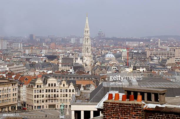 The skyline of central Brussels Belgium looking northwest across the city The tower of the Hotel de Ville can be seen in the middle distance and...