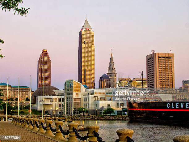 The skyline of Cleveland with the Great Lakes Science Center and the William Mather Museun.