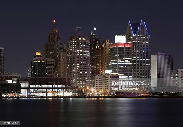 The skyline of Detroit at night as viewed across the river from Windsor after the Detroit Red Wings NHL game against the Nashville Predators at Joe...