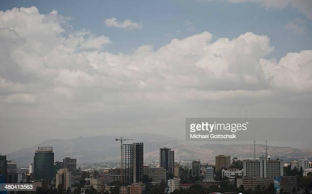 The skyline of downtown Addis Abeba Ethiopia on March 24 2014
