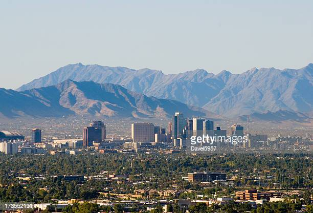 the skyline of downtown phoenix, arizona - phoenix arizona stock photos and pictures