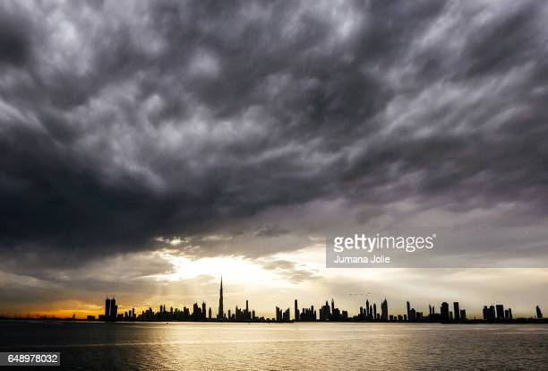 The skyline of Dubai is seen as clouds roll in on February 8 2017 in Dubai United Arab Emirates Photo by Jumana Jolie for Getty Images