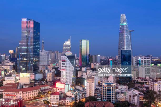 the skyline of ho chi minh city in vietnam - ho chi minh city stock pictures, royalty-free photos & images