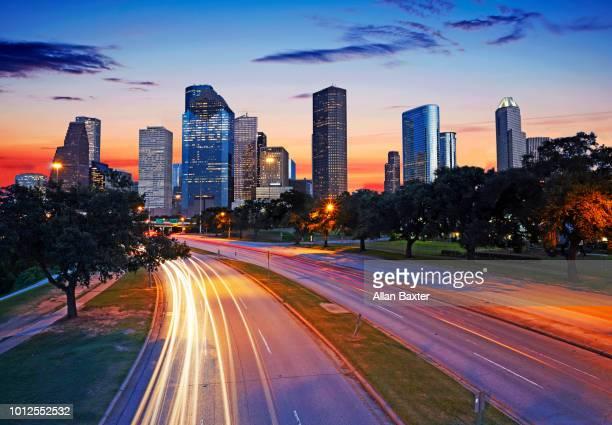 The skyline of Houston's CBD illuminated at dusk