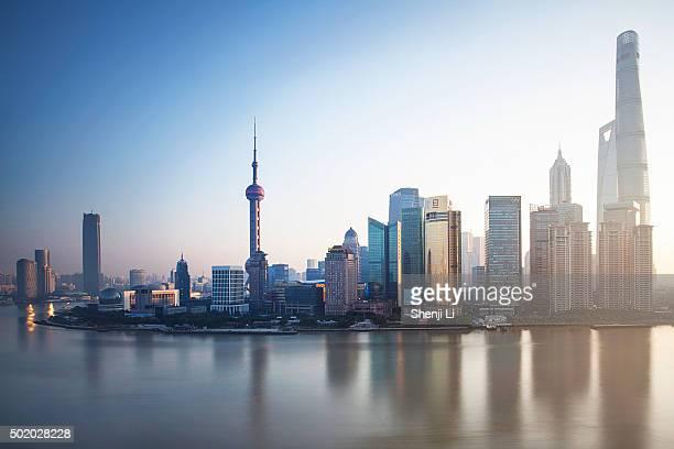 The skyline of Lujiazui at sunrise, Shanghai, China