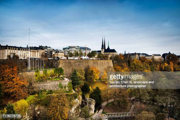 the skyline of luxembourg in autumn - luxembourg benelux stock pictures, royalty-free photos & images