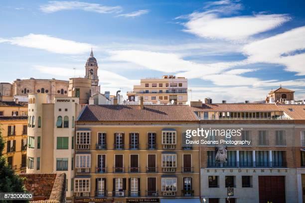 the skyline of malaga in andalucia, spain - malaga fotografías e imágenes de stock