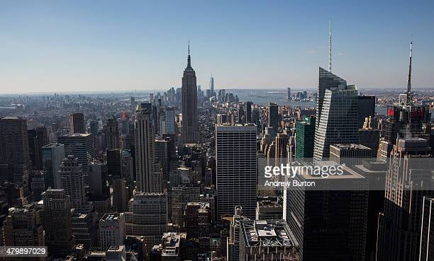 The skyline of Manhattan seen looking southbound from the top of Rockefeller Center is seen on March 21 2014 in New York City After a cold unusually...