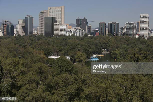 The skyline of Mexico City and the first section of Chapultepec Park is seen from the Chapultepec Castle which houses Mexico's National Museum of...