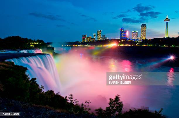 The skyline of Niagara Falls Canada is seen from Niagara Falls New York on July 3 2016 / AFP / Karen BLEIER