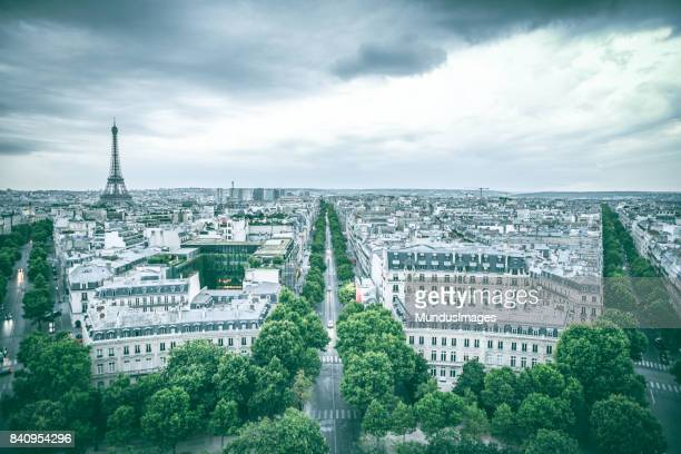 The Skyline Of Paris France with the Eiffel Tower at sunset