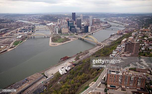 The skyline of Pittsburgh Pennsylvania US is seen in this aerial photo taken on Friday April 9 2010 Metropolitan areas in the US with concentrations...