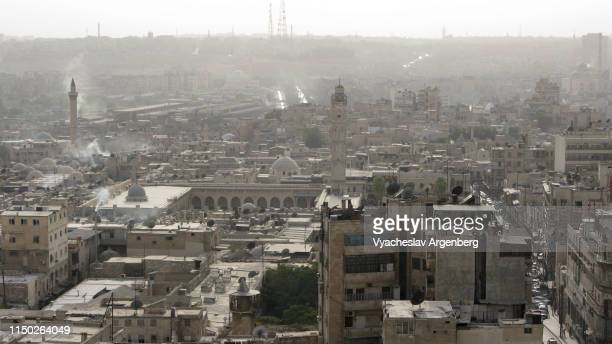 the skyline of pre-war central aleppo, syria - argenberg stock pictures, royalty-free photos & images