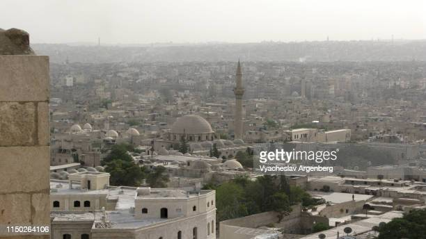 the skyline of pre-war central aleppo, syria - aleppo stock pictures, royalty-free photos & images