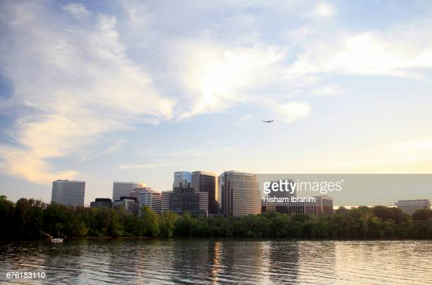 The Skyline of Rosslyn in Arlington County and the Potomac River before Sunset, Virginia, USA
